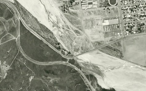 1969 aerial photo showing the original alignment of Soledad Canyon Road at Honby.