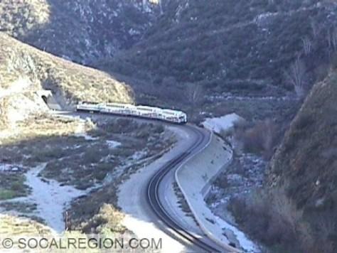 Metrolink passing through the Soledad Canyon Narrows.