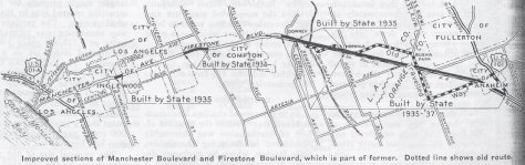 Late 1930's map showing early construction and realignments of Hwy 42.
