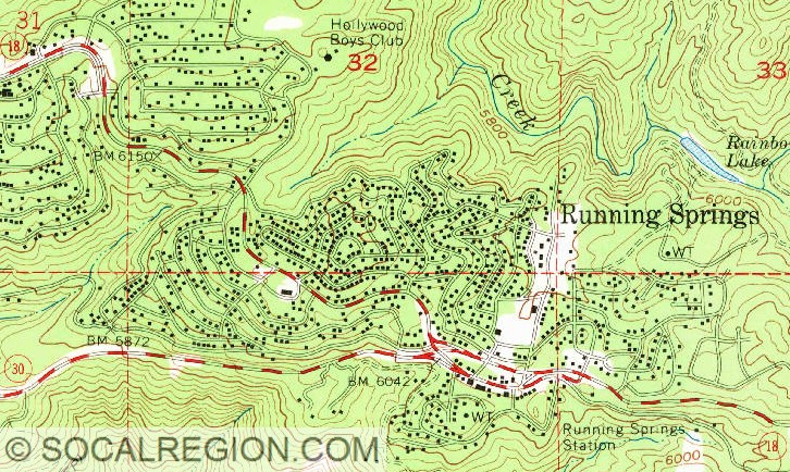 Usgs Map From 1967 Showing The Configuration Of The Running Springs 18 30 Now 330 Junction