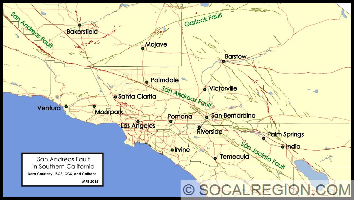San Andreas Fault in Southern California | Southern ... on new madrid fault map, calaveras fault line map, california fault map, andreas fault line map, san jacinto fault zone, hayward fault zone, newport-inglewood fault zone map, rose canyon fault map, mount shasta, salton sea map, san gorgonio wilderness map, north america fault map, hayward fault map, garlock fault map, balcones fault line map, west coast fault line map, whittier fault map, 1906 san francisco earthquake, silicon valley, bay area fault map, los angeles map, city of san antonio map, big sur map, southern california faults, earthquakes in california, calaveras fault, arizona fault map, garlock fault, riverside san bernardino county cities map, carrizo plain, mojave desert,