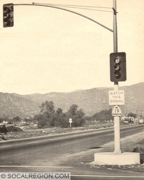 Northbound near Temple City in the 1950's.