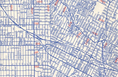 Early 1950's map showing a proposal for a Beverly Blvd interchange.