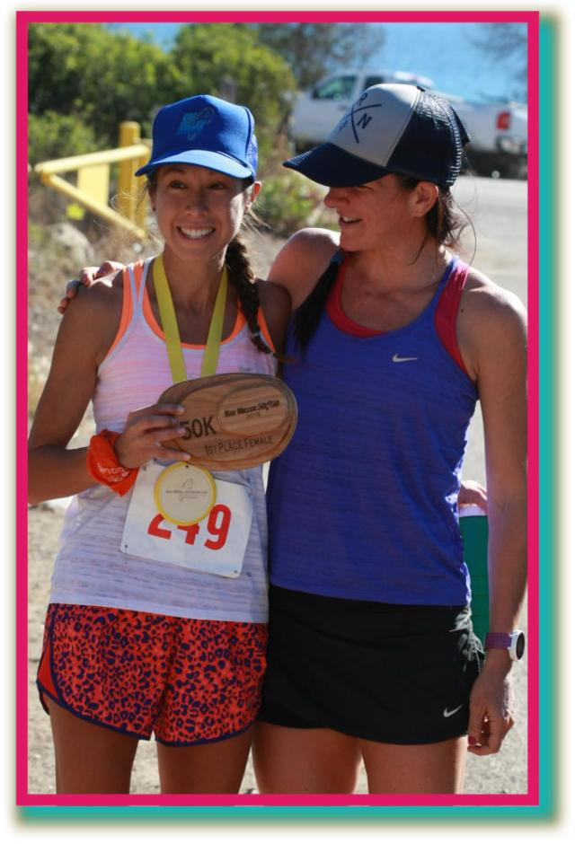 Emma DeLira and Sally McRea after emma won the Ray Miller 50K
