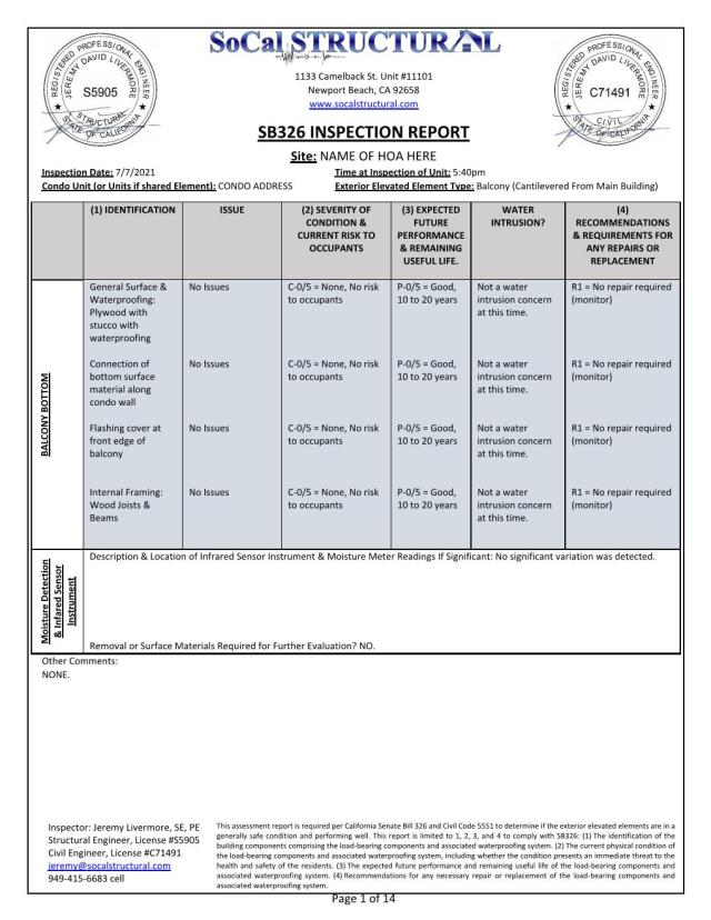 example SB326 inspection reports