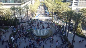 Overlooking the gathering of cosplayers and food trucks.
