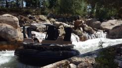 A raft rips thru the raging river