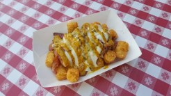 Pastrami Tater Tots - Hot Pastrami, Diced Garlic Pickles, and Monray Cheese Sauce over Tater Tots with a drizzle of Boysenberry Mustard