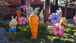Oversized bunnies, carrots, and flowers abound