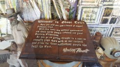Hand-carved wooden book as a Ghost Town tribute on display in The Marketplace