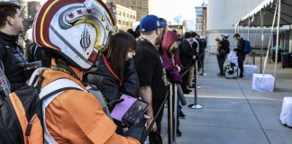 Fans eagerly await entry into Star Wars Celebration's main arena at the Wintrust Arena in Chicago.