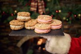 North Pole Oatmeal Toffee and White Chocolate Raspberry Cookiewiches