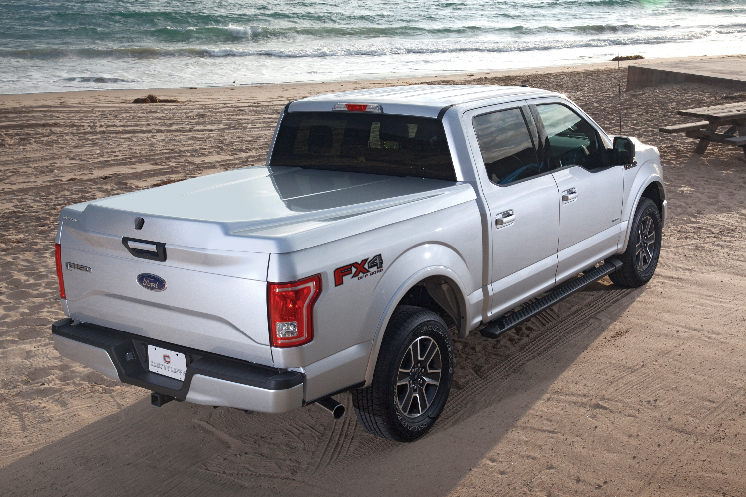 A Century Tonneau Cover Silhouette shown installed on a Ford F150.