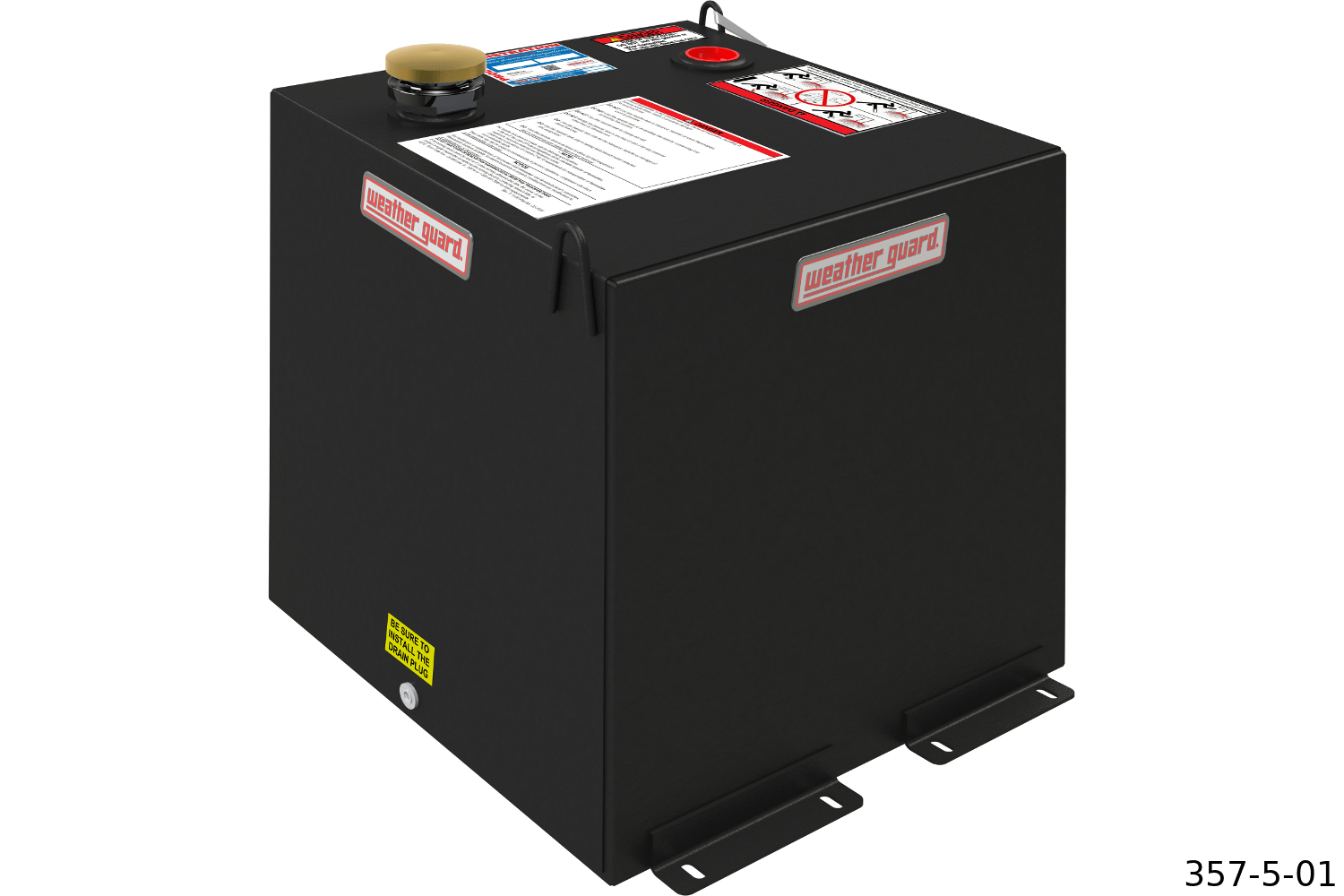 Weather Guard cubed transfer tanks shown in black steel.