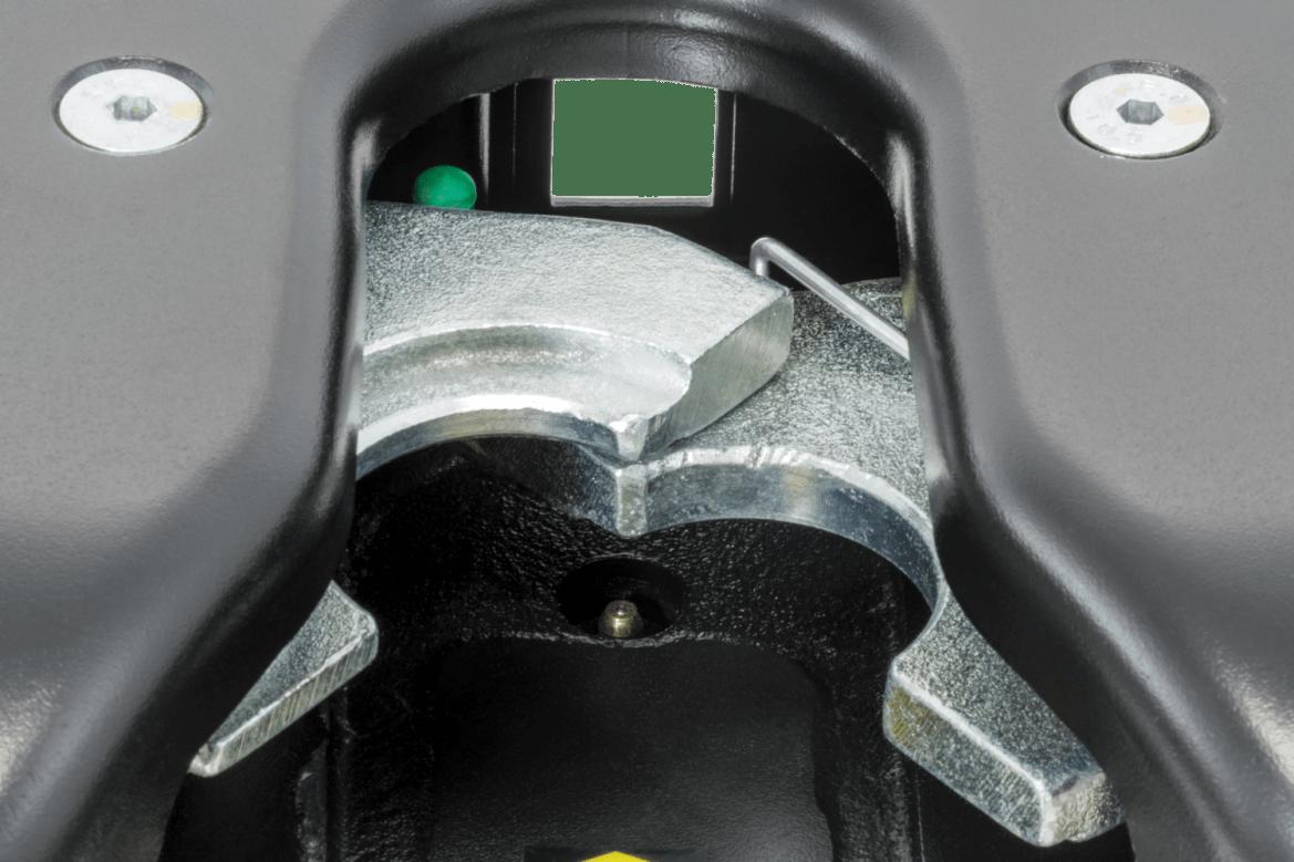Close up of a Curt Q20 5th wheel hitch locking mechanism.