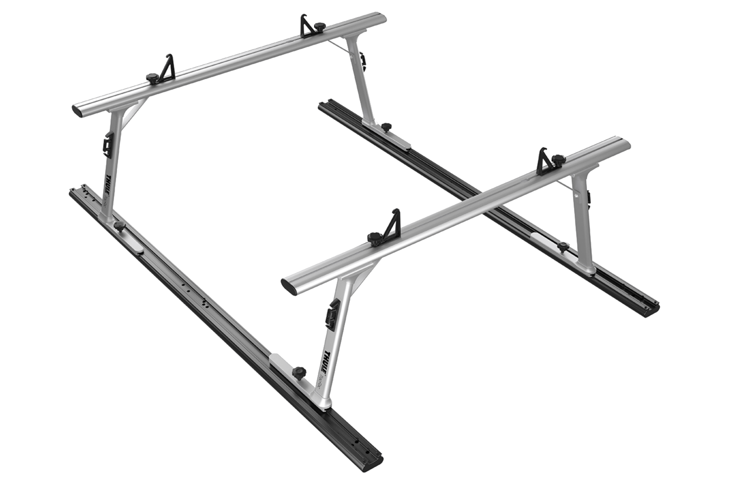 Thule TracRac adjustable truck rack side view.