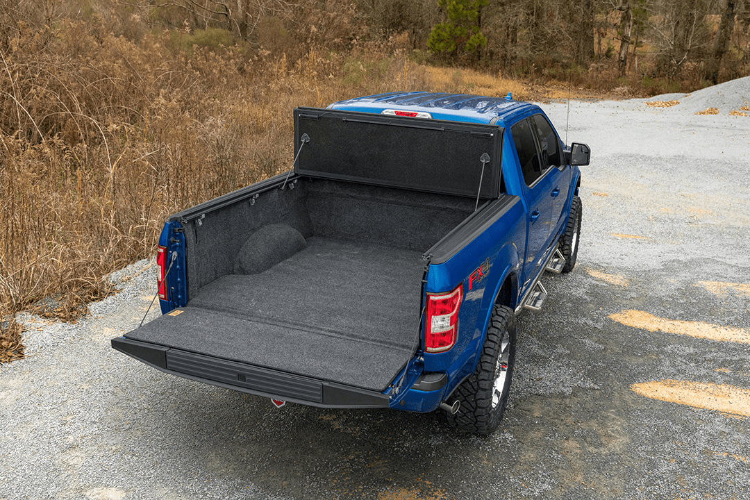 UnderCover ArmorFlex with a rear shot installed on a Ford F150 fully opened.