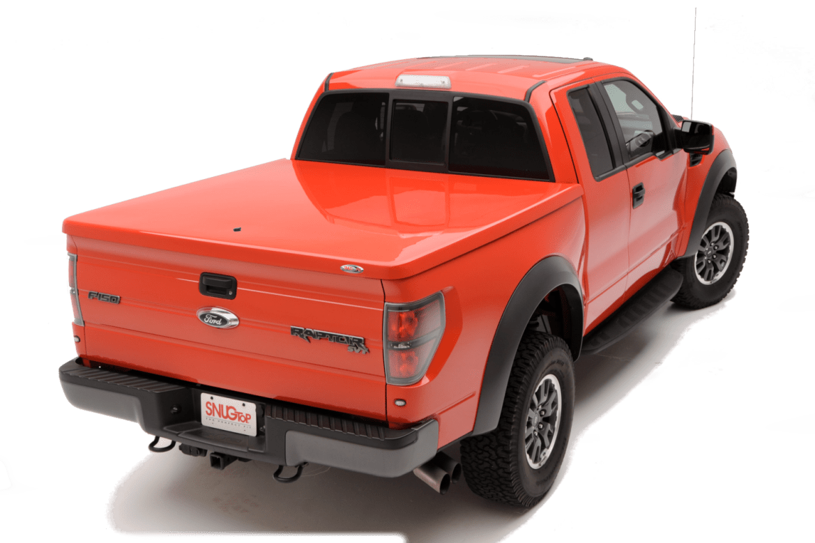 The Snugtop RL fiberglass tonneau cover shown installed on Ford F150 Raptor.
