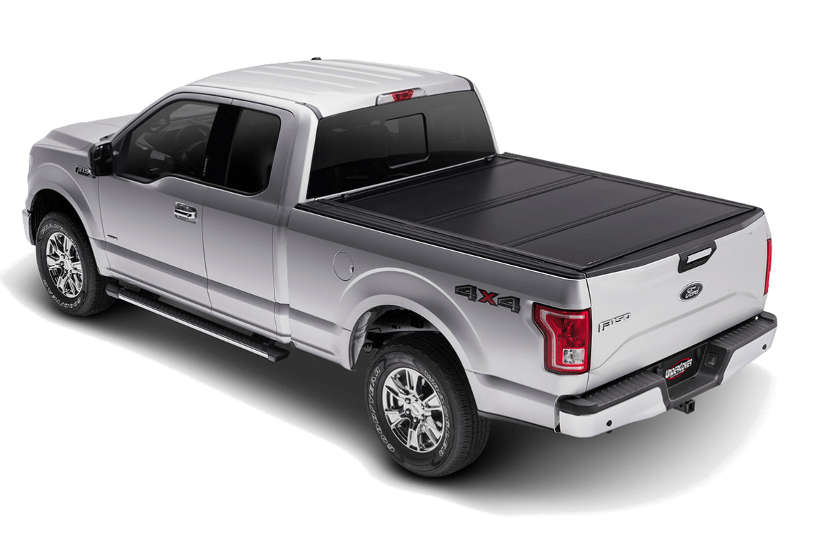 UnderCover Ultra Flex shown installed on a Ford F150 with all of the panels closed.