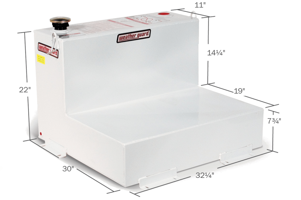 Weather Guard L shaped fuel tank shown in white.