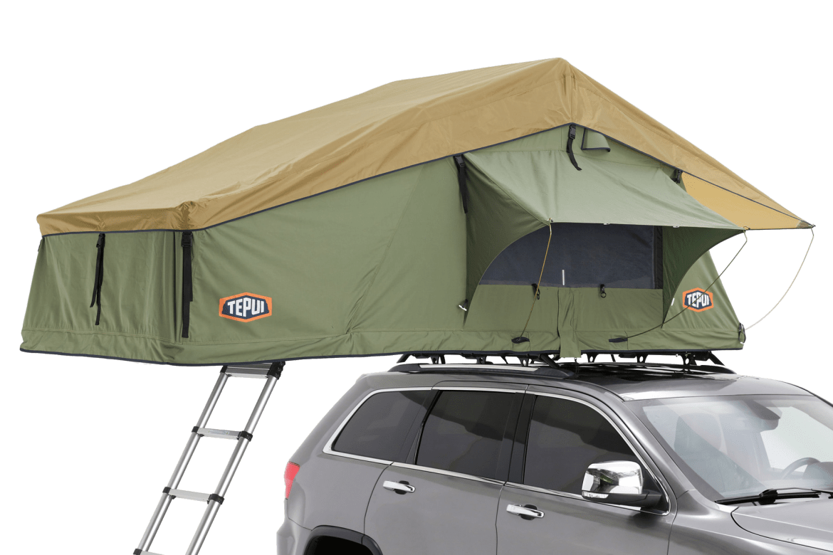Tepui Explorer Series Autana 3 shown in installed on a vehicle in olive green.
