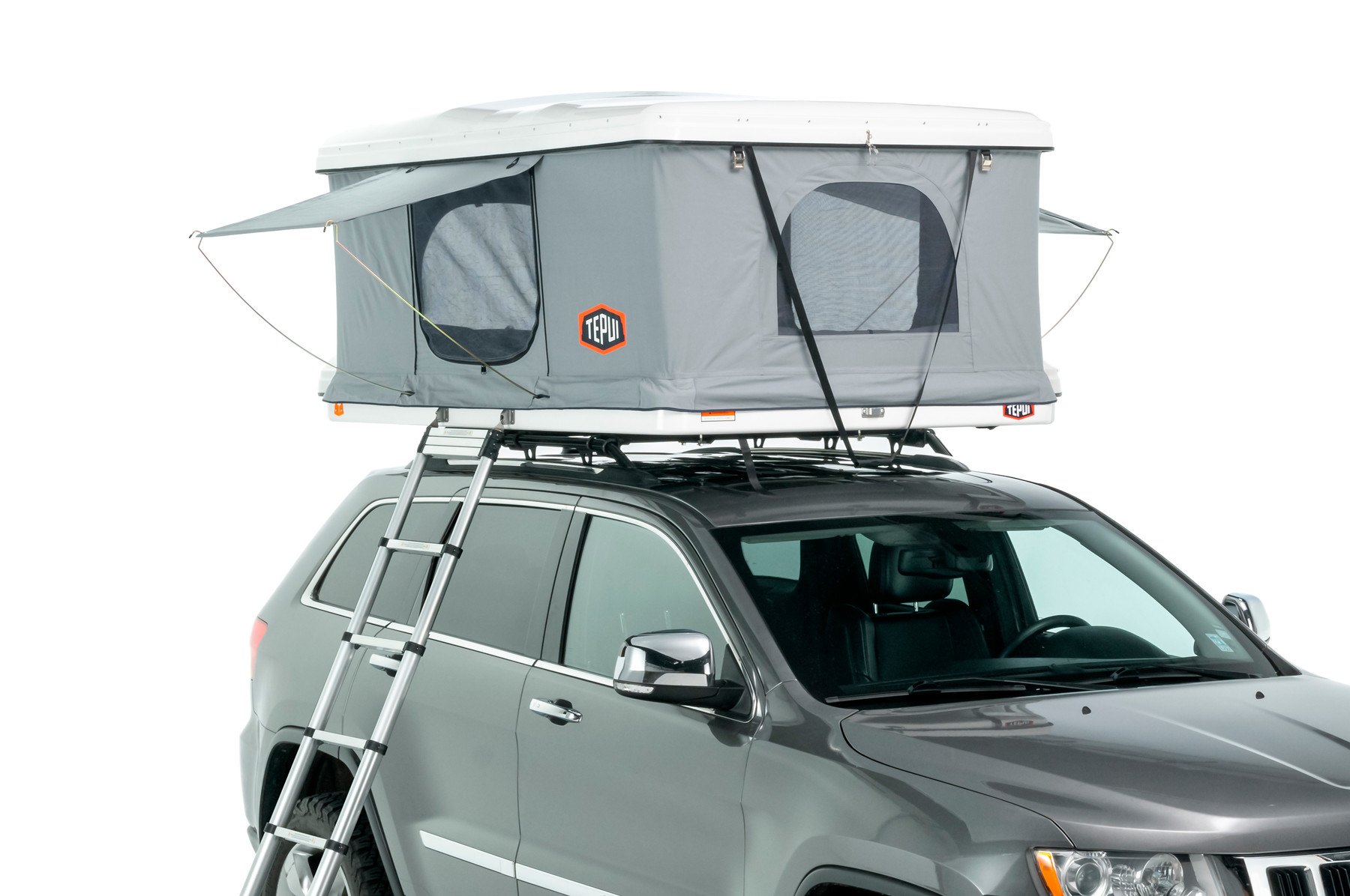 Tepui rooftop tent hybox in grey shown installed on a vehicle.