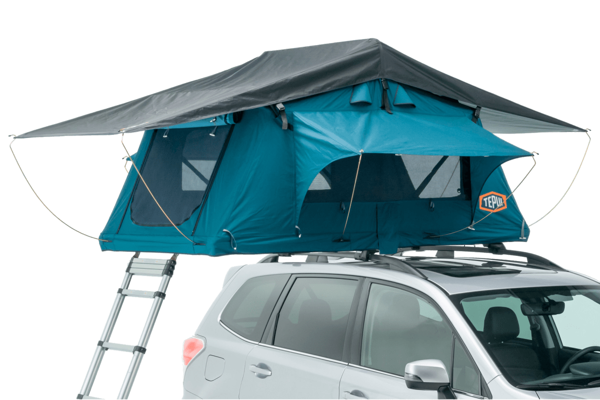 Tepui Ayer 2 shown installed on a vehicle in blue.