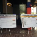 The brackets for the playoff bouts at PFL 9 on display in the lobby of the Long Beach Convention Center/Arena.
