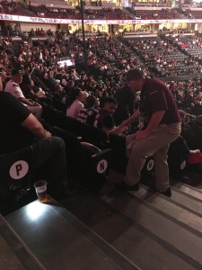 Honda Center staff cleaning up a drunk woman's puke at UFC 241