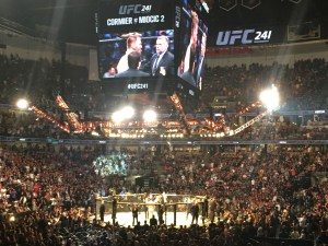 Stipe Miocic after defeating Daniel Cormier in the main event of UFC 241 at the Honda Center in Anaheim (August 17th, 2019(