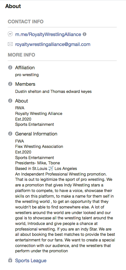 From the Royalty Wrestling Alliance Facebook page