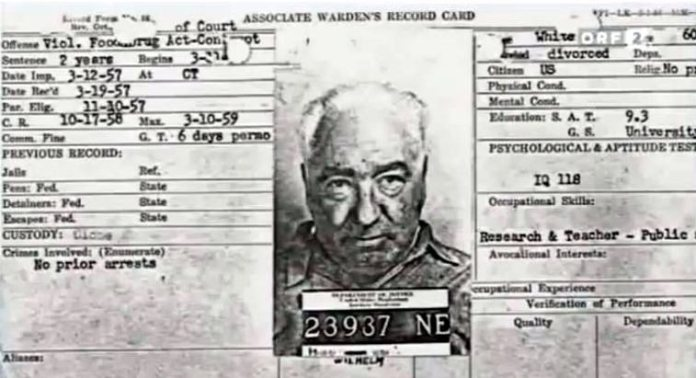 "Associate Warden's Record Card for Wilhelm Reich, Lewisburg Federal Penitentiary, March 1957.Source: Svoboda, Antonin (2009). Wer Hat Angst vor Wilhelm Reich? (""Who's Afraid of Wilhelm Reich?"") (1:34 hr), documentary, Austrian TV.. Author: Prison employee."