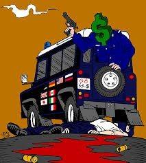 Tegneren Latuffs opfattelse. Kilde: https://latuff.deviantart.com/art/Carlo-Giuliani-2156319