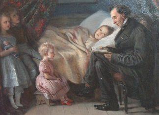 """Elisabeth Jerichau-Baumann: maleri af H. C. Andersen, der læser historien """"Englen"""" højt for hendes børn, 1862."""