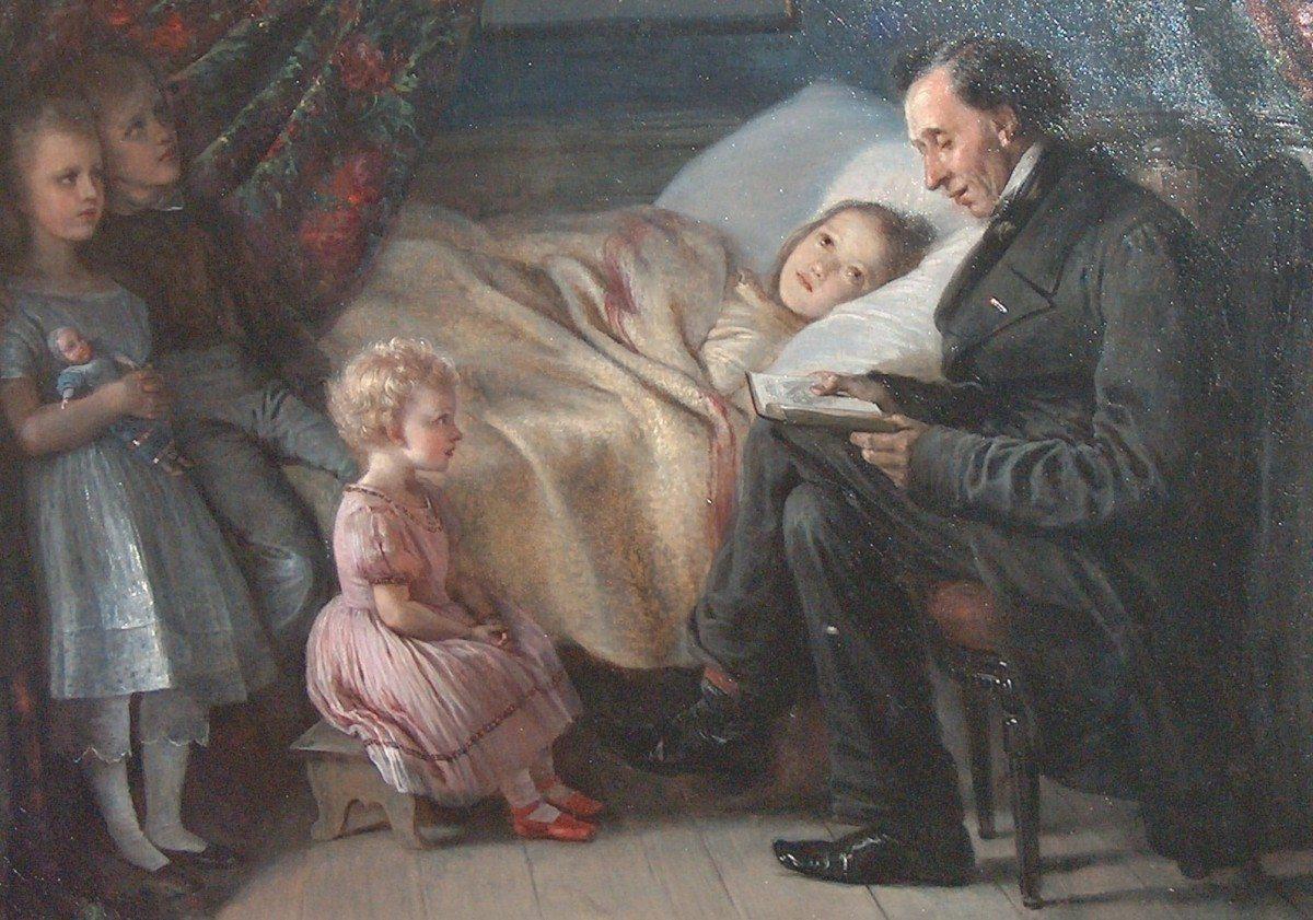 Elisabeth Jerichau-Baumann: maleri af H. C. Andersen, der læser historien