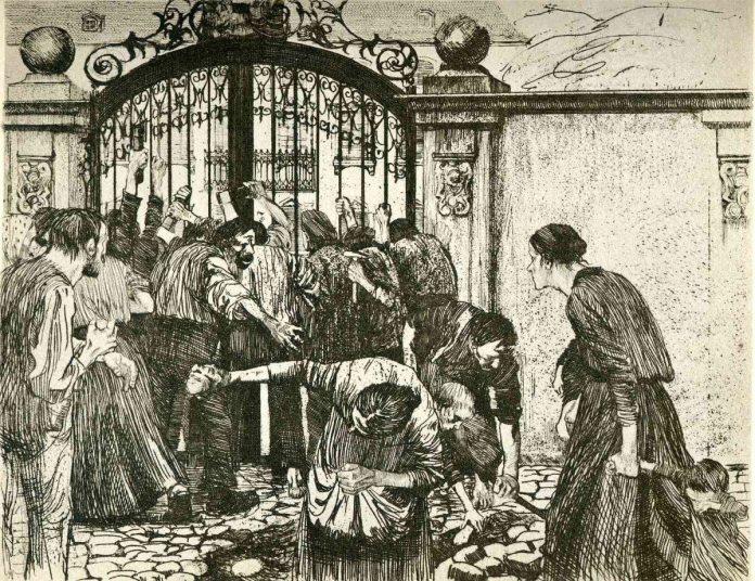 Revolt by the gates of a park 1897 in A Weavers Revolt by Käthe Kollwitz, 1898, Kilde: https://uploads1.wikiart.org/images/kathe-kollwitz/revolt-by-the-gates-of-a-park-1897.jpg Grafiker: Käthe Kollwitz. Public Domain.