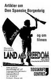 """Illustration: 4-siders bibliografisk pjece om Ken Loachs film """"Land and Freedom"""" og Den Spanske Borgerkrig fra Tidsskriftcentret, 1985."""