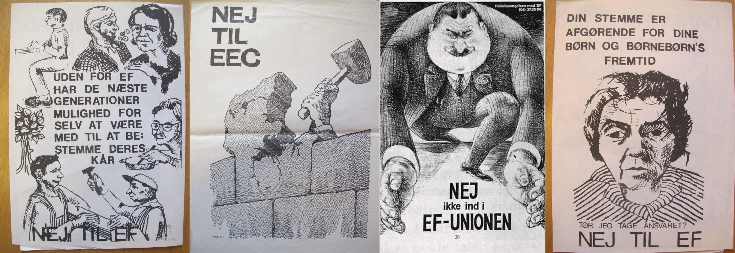 Eksempler på Nej plakater til EF-valget i 1972. Se 2. oktober 1972 nedenfor.