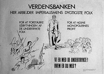 KUFplakat tegnet af Madsen til Verdensbankmødet i Købehavn 1970
