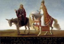 The servant goes above the master: satire from the Reformation of Christ on a donkey and the pope on horseback. Oil on panel. Insribed: Hier bij so schijnttet dat in staet. den knecht booven de meester gaet. Date: from 1600 until 1624. Source: Museum Catharijneconvent Author: Anonymous. Public Domain.