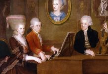 "Family portrait: Maria Anna (""Nannerl"") Mozart, her brother Wolfgang, their mother Anna Maria (medallion) and father, Leopold Mozart, circa 1780. Maleri af Johann Nepomuk della Croce Source/Photographer http://vietsciences.org/biographie/artists/composers/images/mozart_giadinh.jpg http://www.schillerinstitute.org/graphics/photos/hist_poet_musicians/mozart_family.jpg"