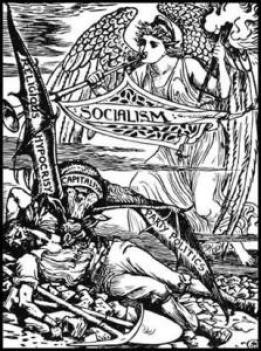 """""""Religiøst hykleri"""" er en af vingerne på den kapitalistiske grib … Walter Crane: The Capitalist Vampire (Justice Journal ,1885)"""