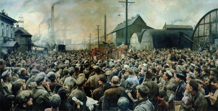 Lenin at Putilov factory at May 1917, painted i 1929 by Isaak Brodsky (1883–1939). Current location: State Historical Museum in Moskow in Russia. https://commons.wikimedia.org/wiki/File:Isaak_Brodsky_putilov.jpg Publicdomain