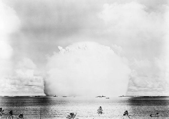 "The atomic cloud during the ""Baker"" nuclear test at the Bikini atoll. 25 July 1946. Photo: U.S. Navy (photo 80-G-396231) Public Domain."
