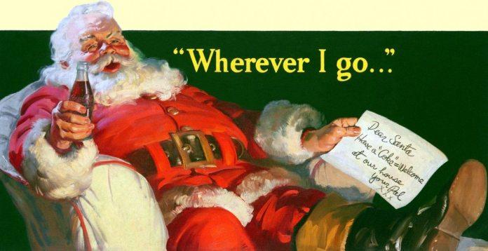 Coca Cola Santa Claus image from 1939 painted by Haddon Sundblom