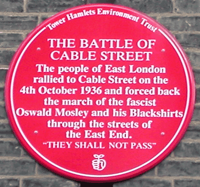 Plaque, Dock Street, near Cable Street junction, London, 17 Sept 2005