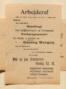Illustration: Plakat med indkaldelse til protestmødet den 13.11.1918. Klik for at se stor størrelse. Mere om plakaten på Leksikon.org.