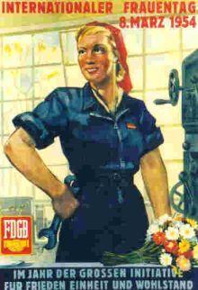 (Øst)tyske LO's 8. marts-plakat, 1954.