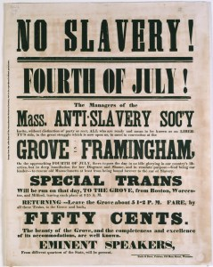 Broadside advertising a Fourth of July rally sponsored by the Massachusetts Anti-Slavery Society in 1854. Image: Massachusetts Historical Society.