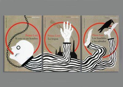 Bogomslag til italienske udgaver af Primo Levi-bøger om KZ-lejre.